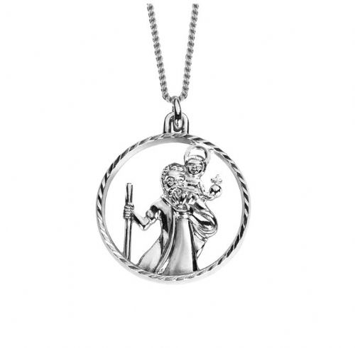 Round Pierced | Sterling Silver | St. Christopher Necklace